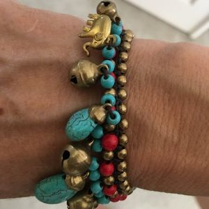 Jewelry - Brass, turquoise and red coral bracelet